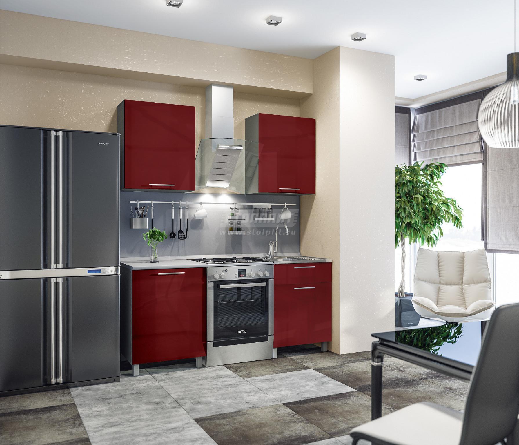 Кухня Столплит Анна L-1800 алюминий/рубин глянец/серебро 120x214x60 см