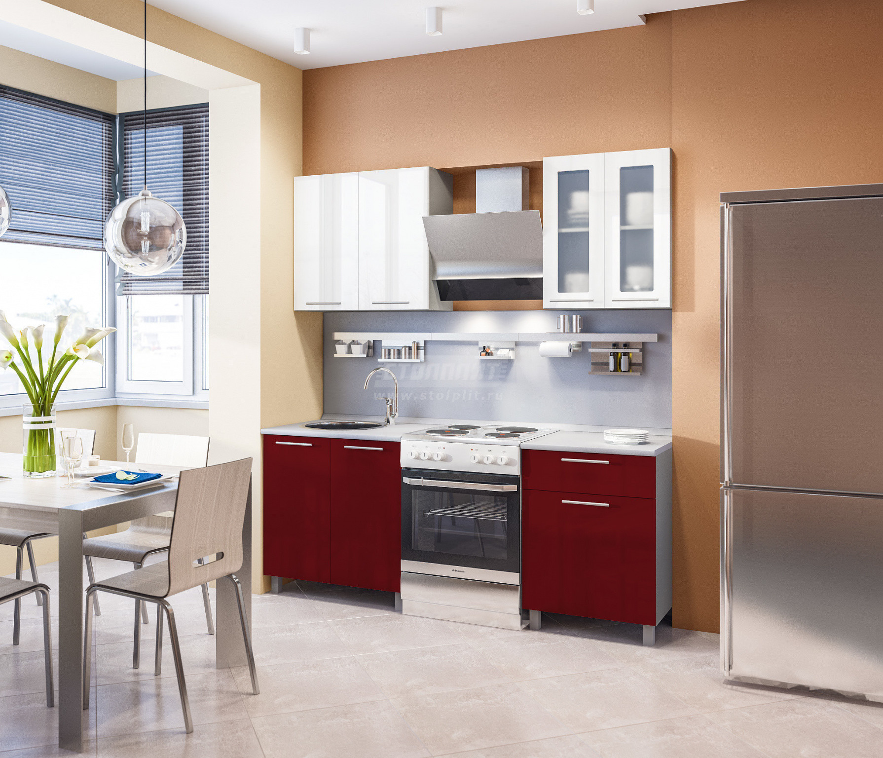 Кухня Столплит Анна L-2000 алюминий/белый глянец/рубин глянец 140x214x60 см