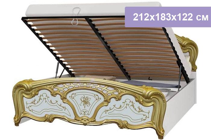 Двуспальная кровать Интердизайн Роза белый/золото 212x183x122 см (подъемный механизм)