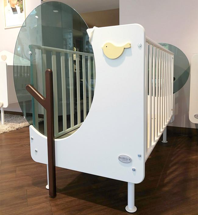 Кроватка Baby Expert Bosco бело-зеленый (с реечными бортами)