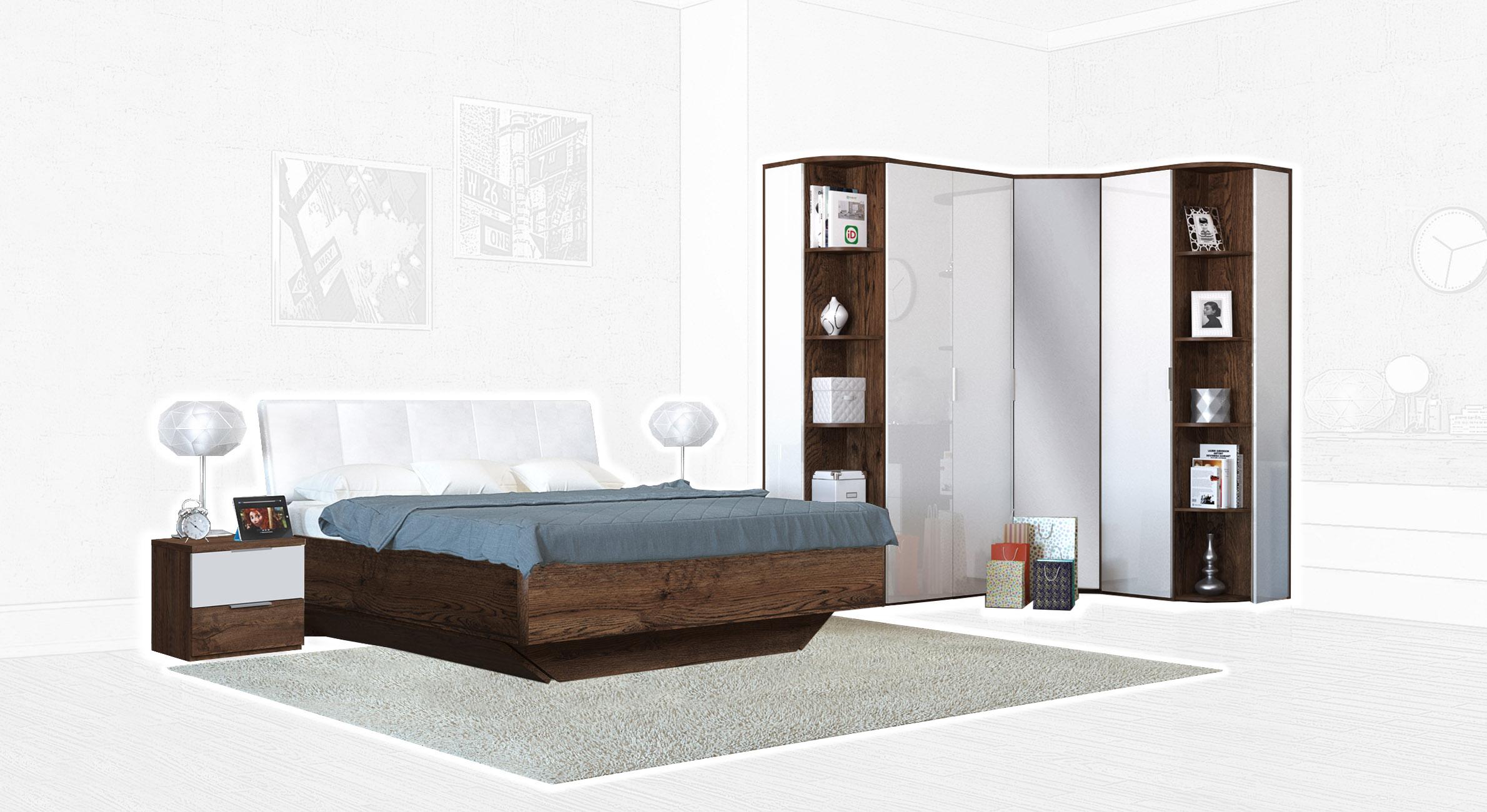Спальня Интердизайн Тоскано темно-коричневый/белый (композиция 4)
