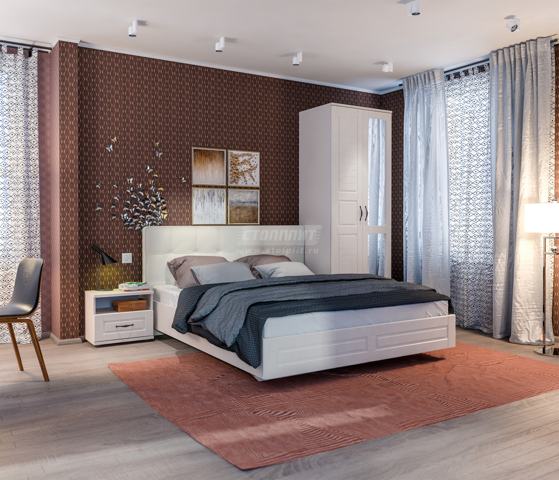 Спальня Столплит Сити 129-462-938-4026 бежевый песок/кофе