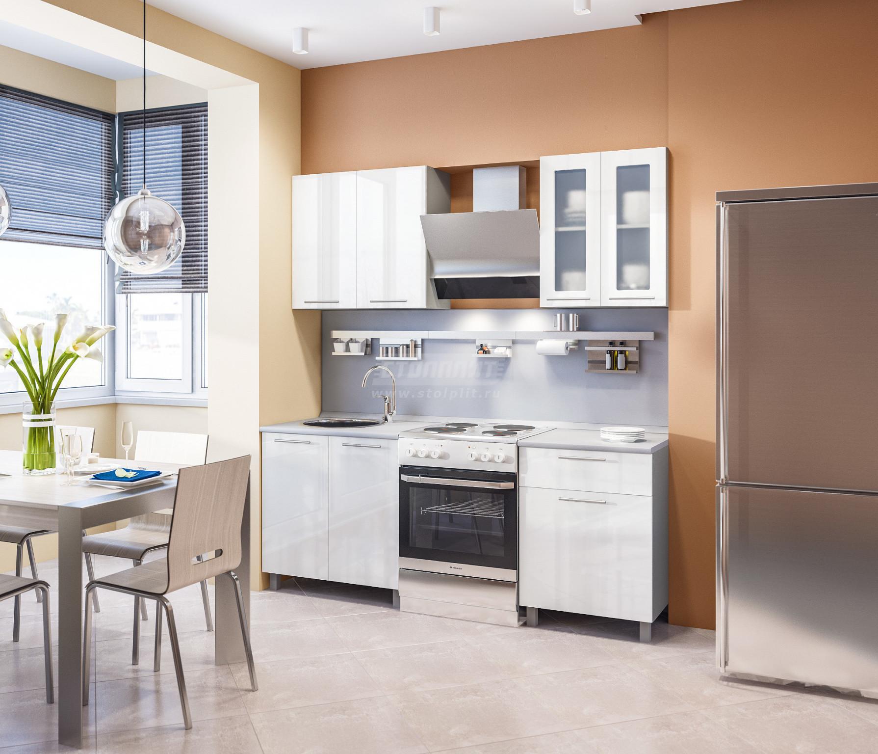 Кухня Столплит Анна L-2000 алюминий/белый глянец 140x214x60 см