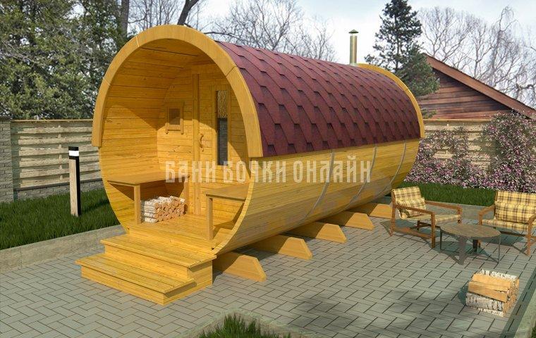 Баня-бочка «Стандарт» 350x200 см (с крыльцом)