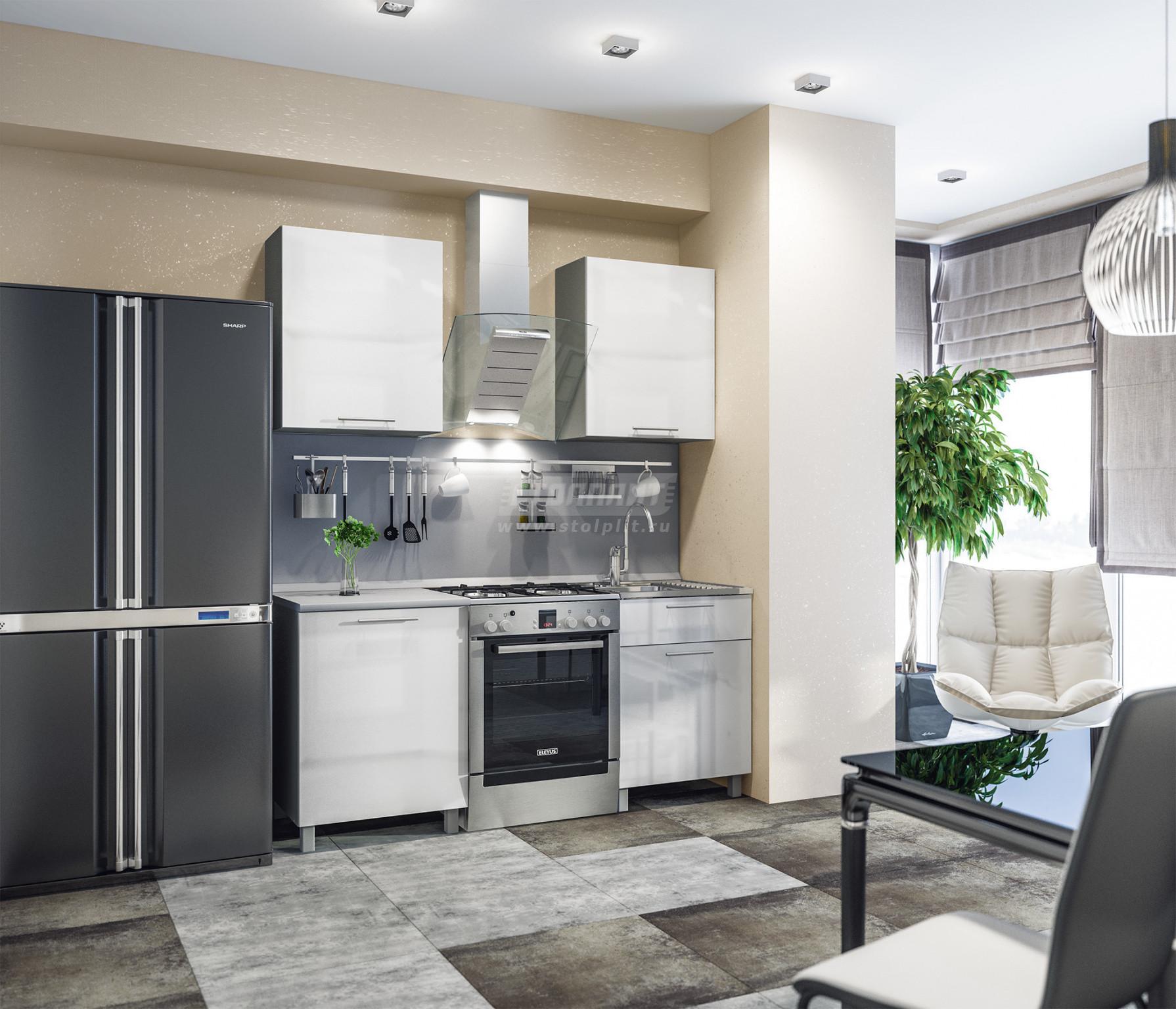 Кухня Столплит Анна L-1800 алюминий/белый глянец 120x214x60 см