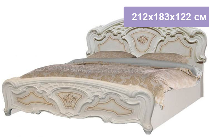 Двуспальная кровать Интердизайн Роза бежевый/бежевый 212x183x122 см (ортопедическое основание)