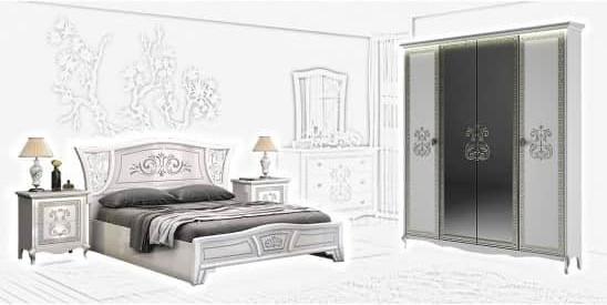 Спальня Интердизайн Винтаж белый/белый (композиция 2)