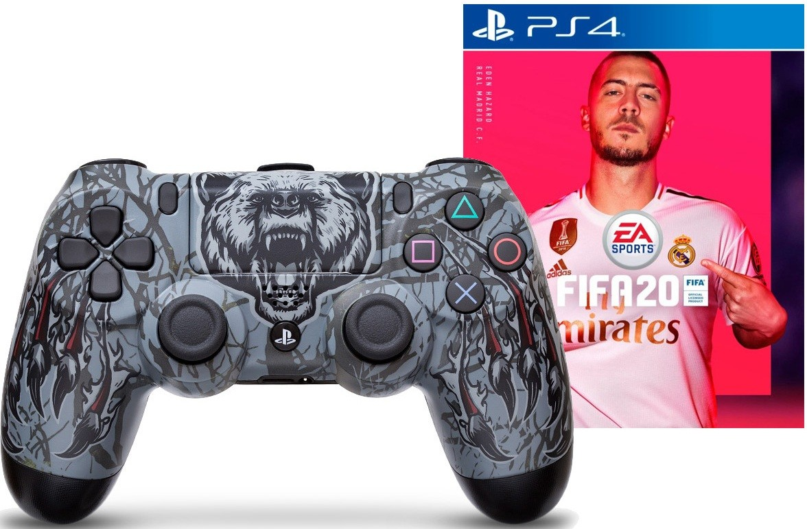 Геймпад Sony DualShock 4 Grizzly + FIFA 20 PS4 русская версия