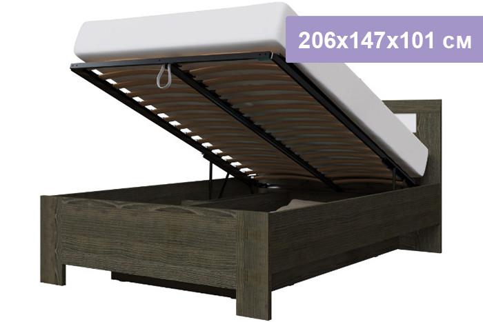Двуспальная кровать Интердизайн Тоскано Лайт ясень темный/белый 206x147x101 см (подъемный механизм)