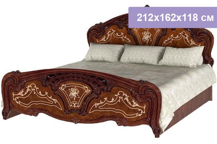 Двуспальная кровать Интердизайн Роза коричневый/коричневый 212x162x118 см (ортопедическое основание)