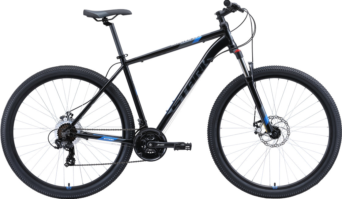 """Велосипед Stark Hunter 29.2 D (2020) черный/серый/голубой 29""""/20"""""""