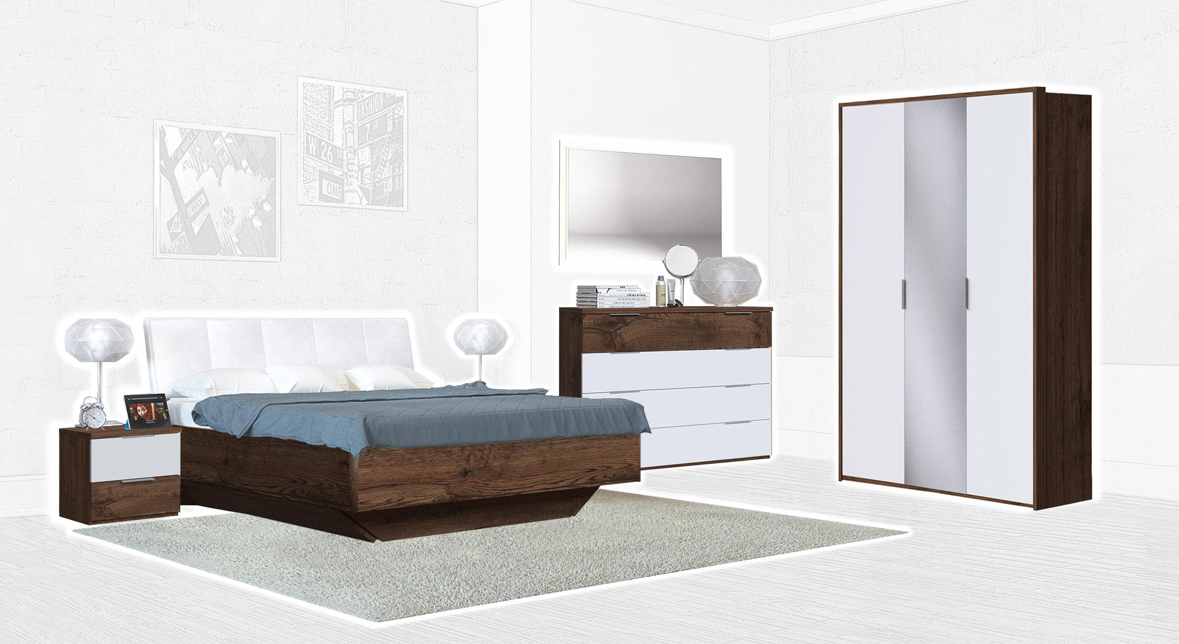 Спальня Интердизайн Тоскано темно-коричневый/белый (композиция 3)