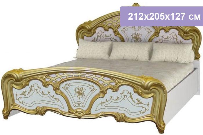 Двуспальная кровать Интердизайн Роза белый/золото 212x205x127 см (ортопедическое основание)
