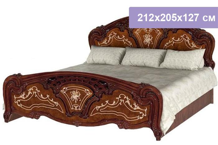 Двуспальная кровать Интердизайн Роза коричневый/коричневый 212x205x127 см (ортопедическое основание)