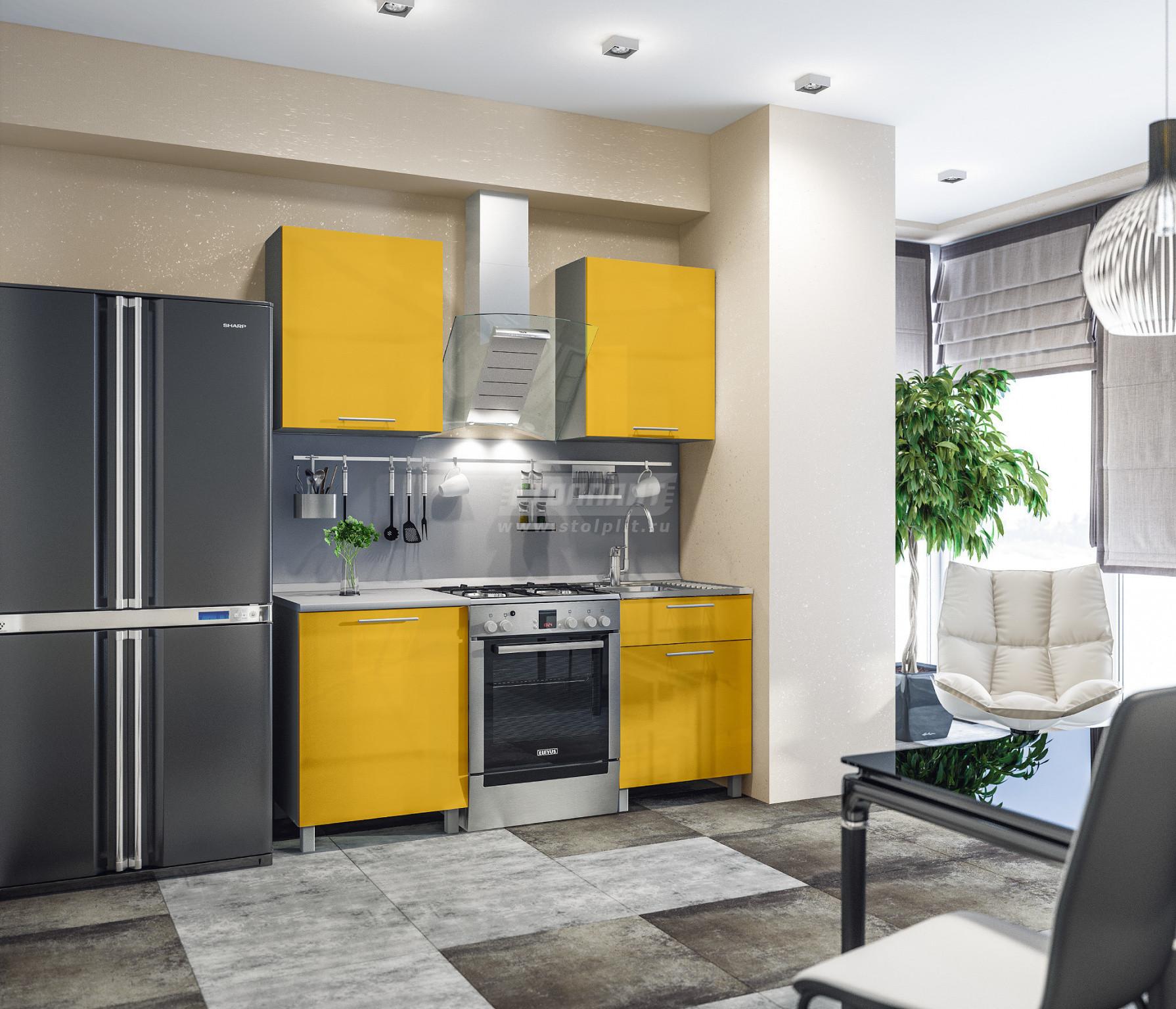 Кухня Столплит Анна L-1800 алюминий/желтый глянец/серебро 120x214x60 см