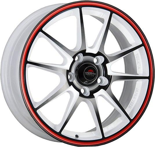 """Комплект дисков Yokatta Model-15 6,5jx16"""" 5/112 ET33 D57,1 W+B+RS/белый + черный + красная полоса по ободу"""