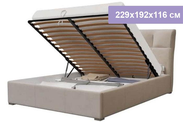 Двуспальная кровать Интердизайн Тоскано Софт бежевый/бежевый 229x192x116 см (подъемный механизм)