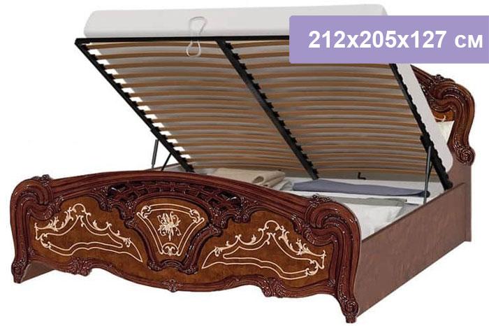 Двуспальная кровать Интердизайн Роза коричневый/коричневый 212x205x127 см (подъемный механизм)