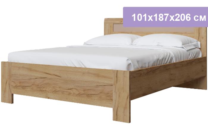 Двуспальная кровать Интердизайн Тоскано Лайт дуб крафт/капучино 101x187x206 см