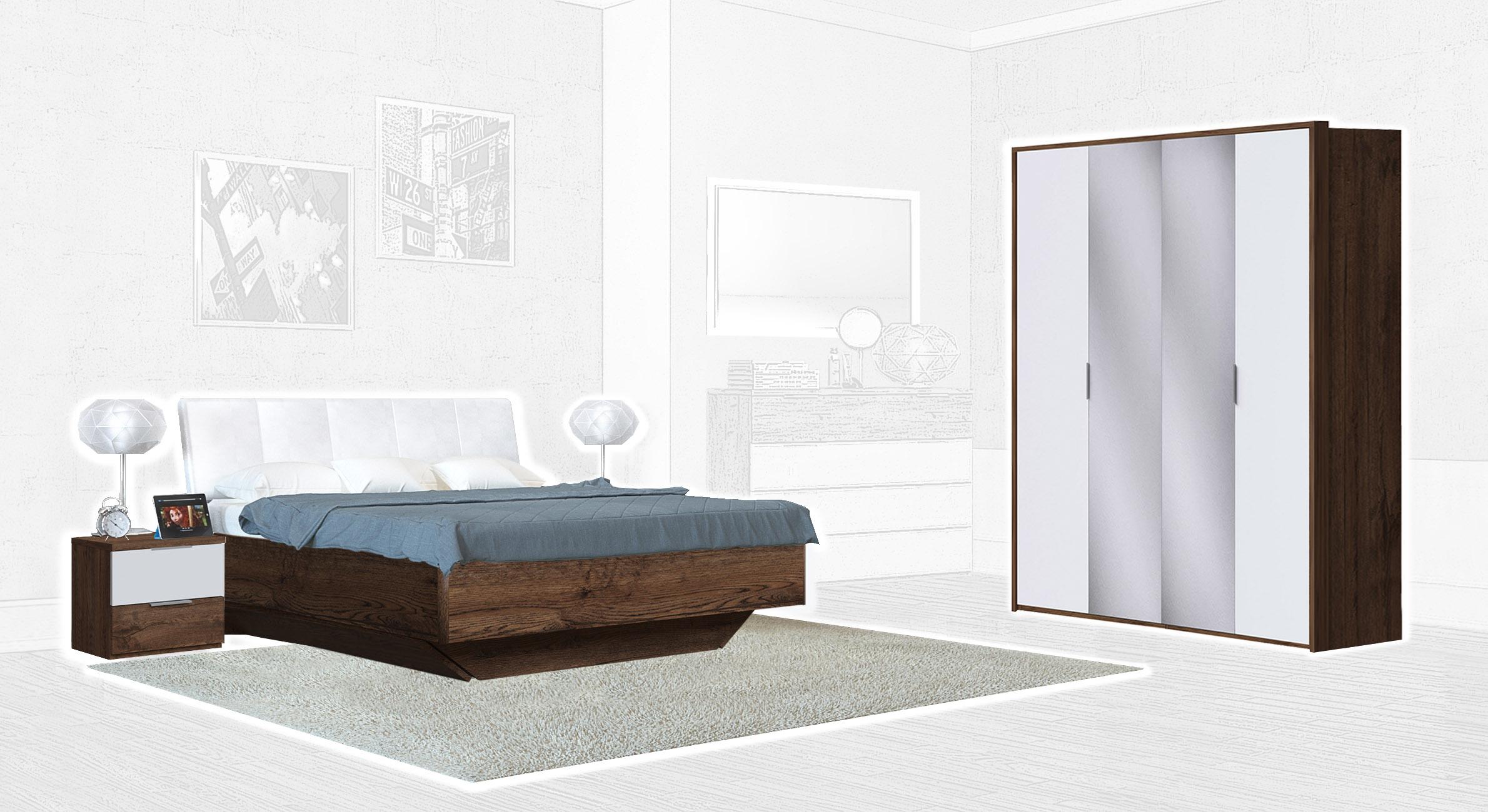 Спальня Интердизайн Тоскано темно-коричневый/белый (композиция 2)