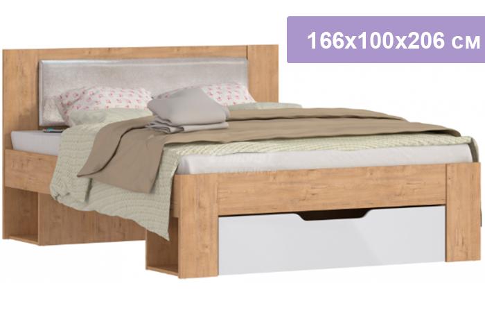 Двуспальная кровать Столплит Веста СБ-2324 дуб бунратти 166x100x206 см