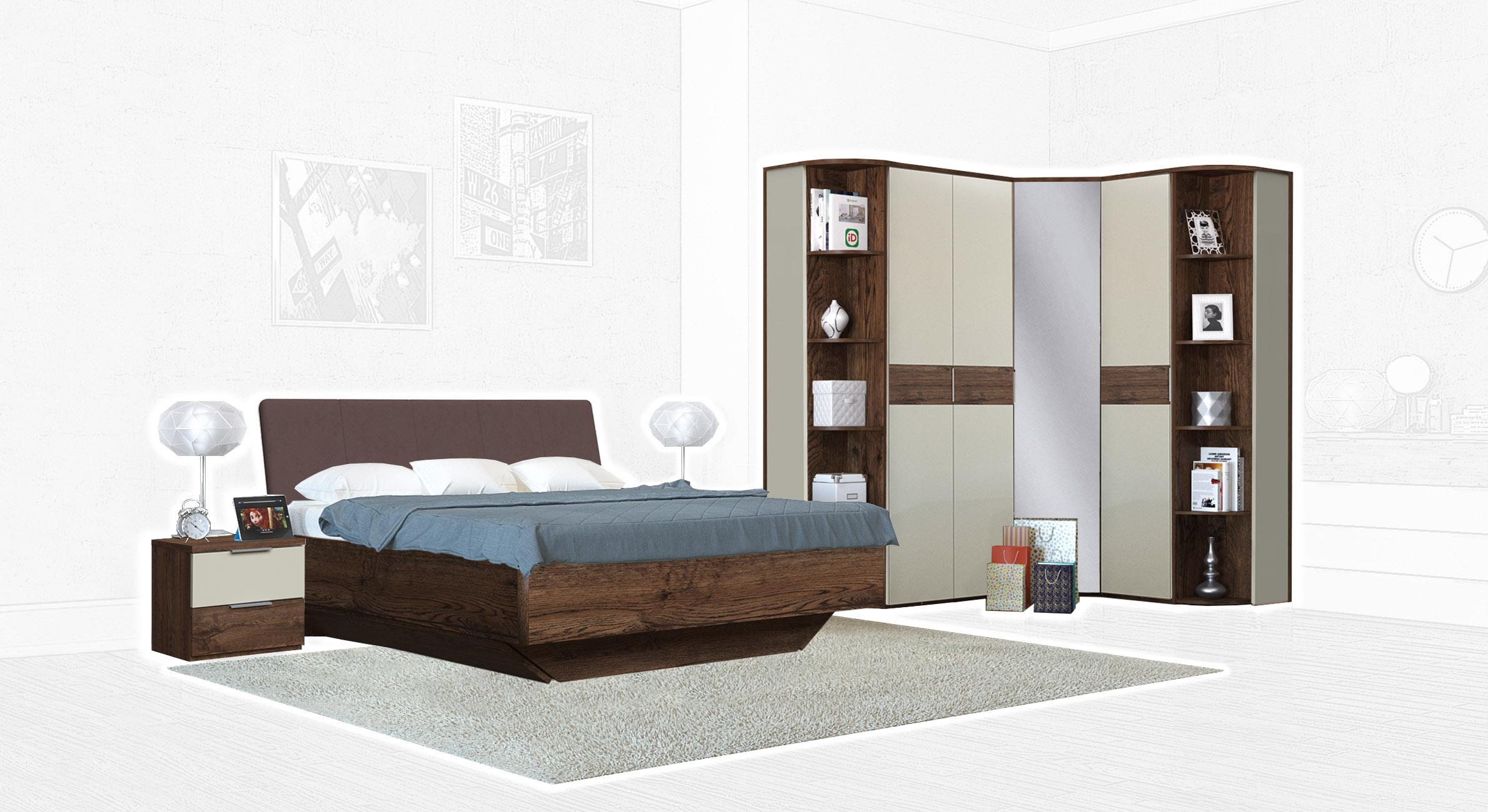 Спальня Интердизайн Тоскано темно-коричневый/бежевый (композиция 4)