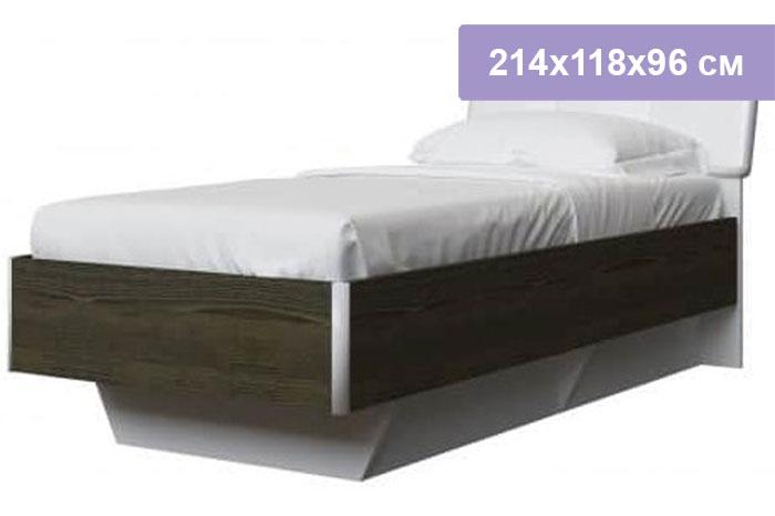 Односпальная кровать Интердизайн Тоскано 32.65.AdW ясень темный/белый 214x118x96 см (ортопедическое основание)
