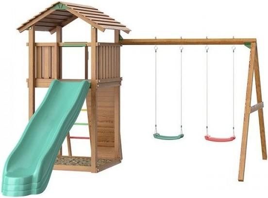 Jungle Gym Cottage + Swing Module Xtra + Rock Module