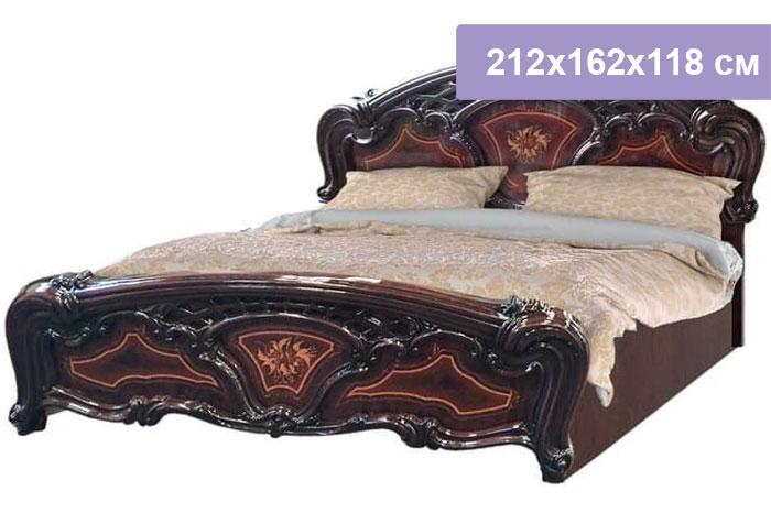 Двуспальная кровать Интердизайн Роза темно-коричневый/темно-коричневый 212x162x118 см (ортопедическое основание)