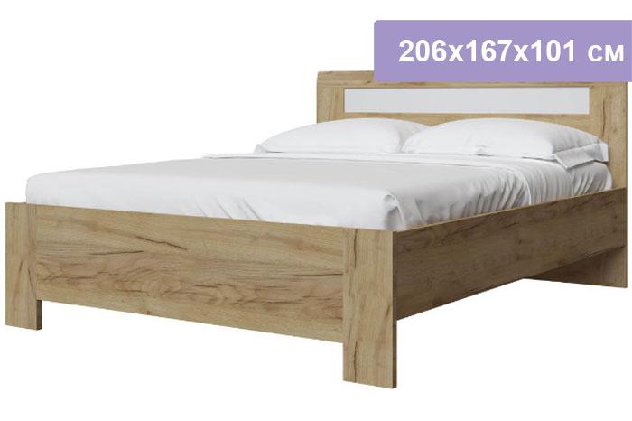Двуспальная кровать Интердизайн Тоскано Лайт дуб крафт/белый 206x167x101 см (ортопедическое основание)