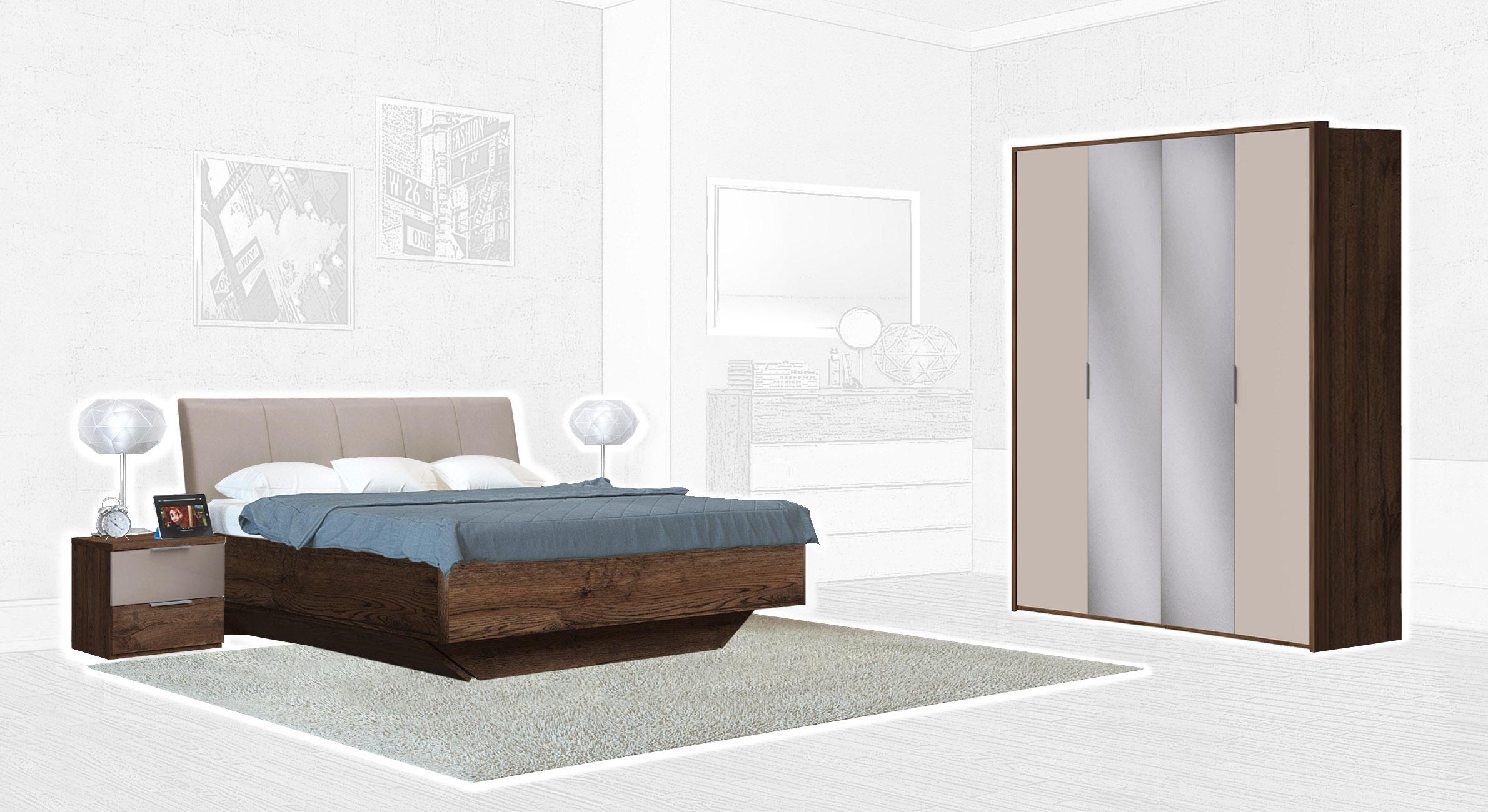 Спальня Интердизайн Тоскано дуб эйприл/капучино (композиция 2)