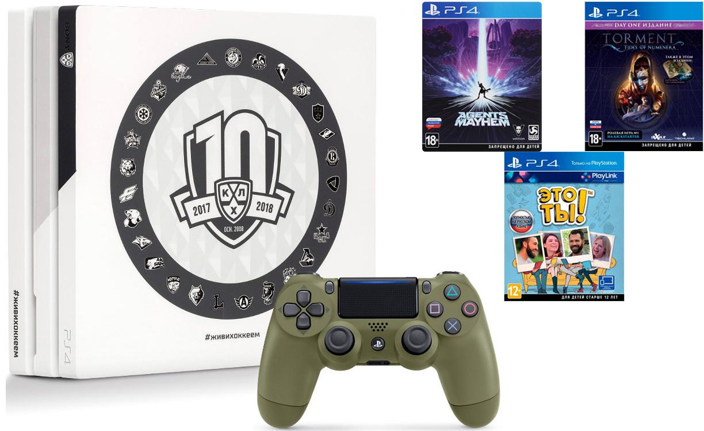 Игровая приставка Sony PlayStation 4 Pro 1Tb КХЛ 10 сезон + Sony DualShock 4 v2 Call of Duty WWII Edition Dark Green + 3 игры