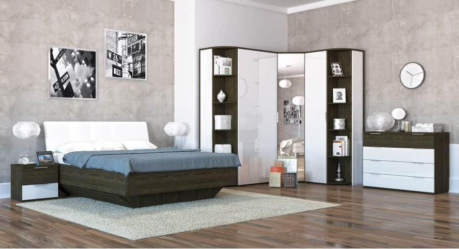 Спальня Интердизайн Тоскано ясень темный/белый