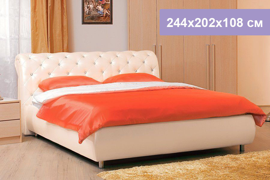 Двуспальная кровать Цвет Диванов Брисбен перламутровый 244x202x108 см