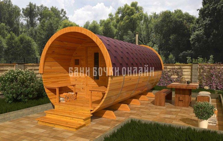 Баня-бочка «Компакт» 400x200 см (с крыльцом)
