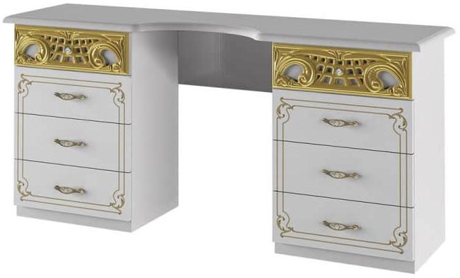 Туалетный столик Интердизайн Роза белый/золото 743x1550x406 см