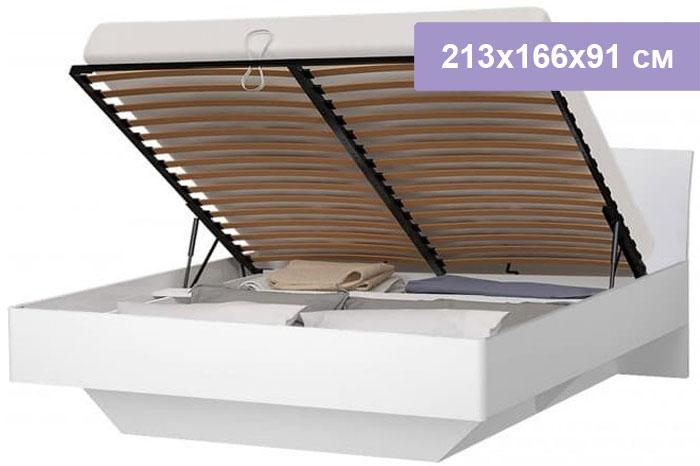 Двуспальная кровать Интердизайн Токио белый/белый 213x166x91 см (подъемный механизм)