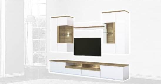 Стенка Интердизайн Тоскано дуб/белый 2000x2906x475 (композиция 4)