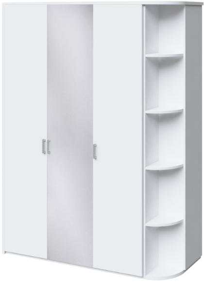 Шкаф Интердизайн Белла белый глянец 221x162x60 см (зеркало и стеллаж)
