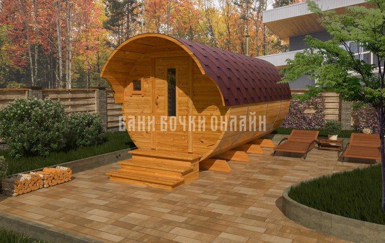 Баня-бочка «Люкс» 450x200 см (с козырьком)
