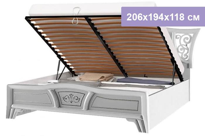 Двуспальная кровать Интердизайн Винтаж белый/белый 206x194x118 см (подъемный механизм)