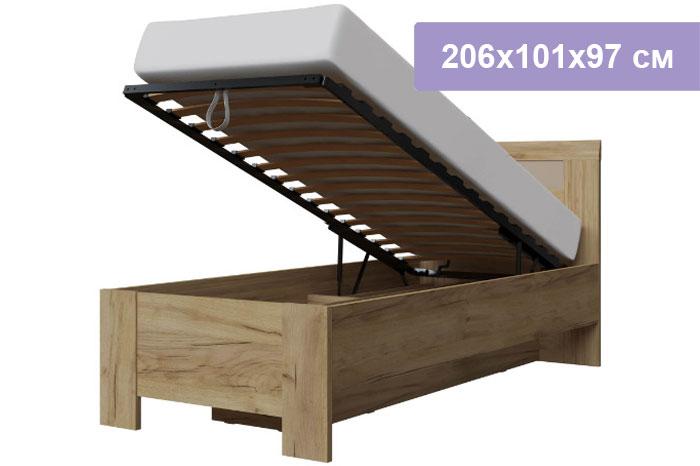 Односпальная кровать Интердизайн Тоскано Лайт дуб крафт/капучино 206x101x97 см (подъемный механизм)