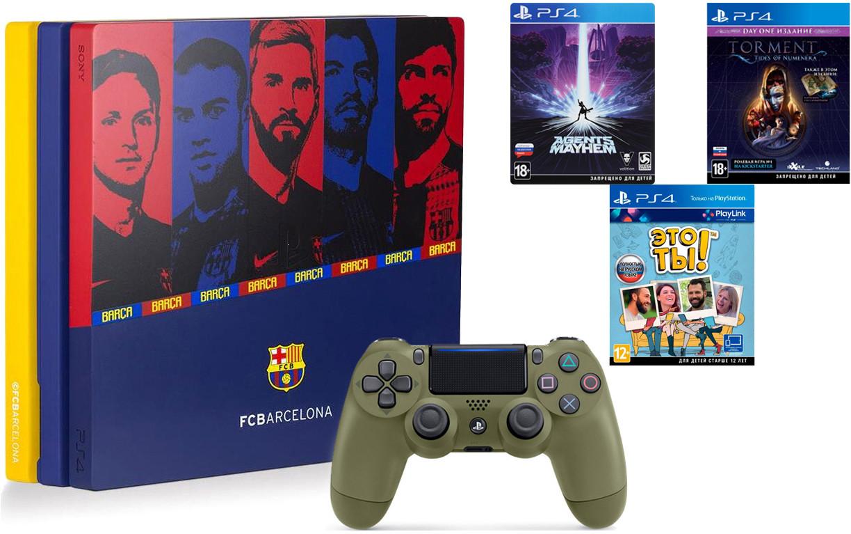 Игровая приставка Sony PlayStation 4 Pro 1Tb Барселона Камп Ноу + Sony DualShock 4 v2 Call of Duty WWII Edition Dark Green + 3 игры