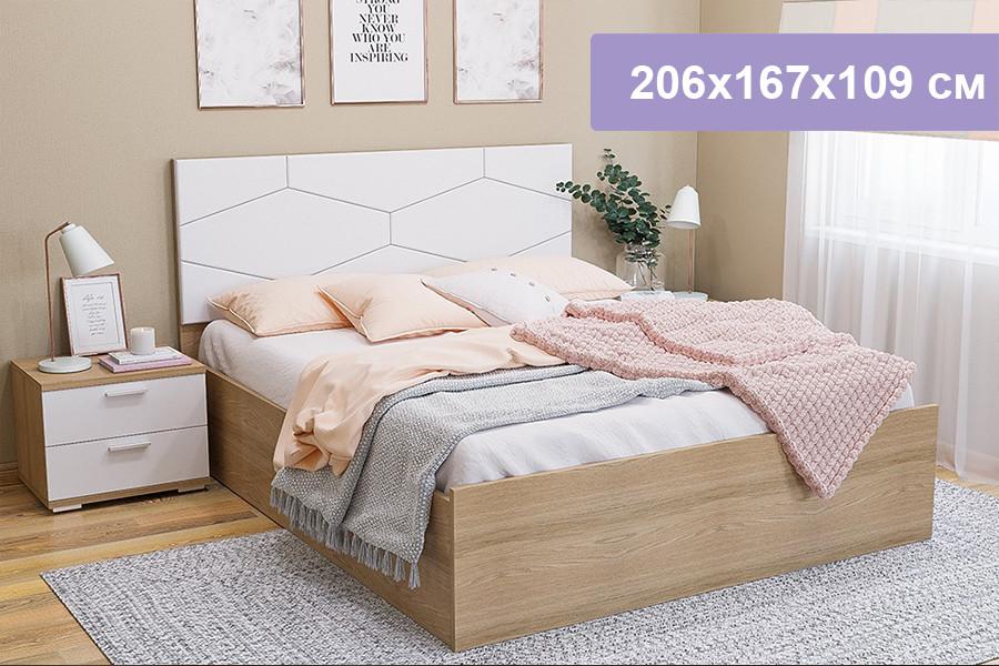 Двуспальная кровать Цвет Диванов Вейла дуб каньон светлый, Boom Ice 206x167x109 см