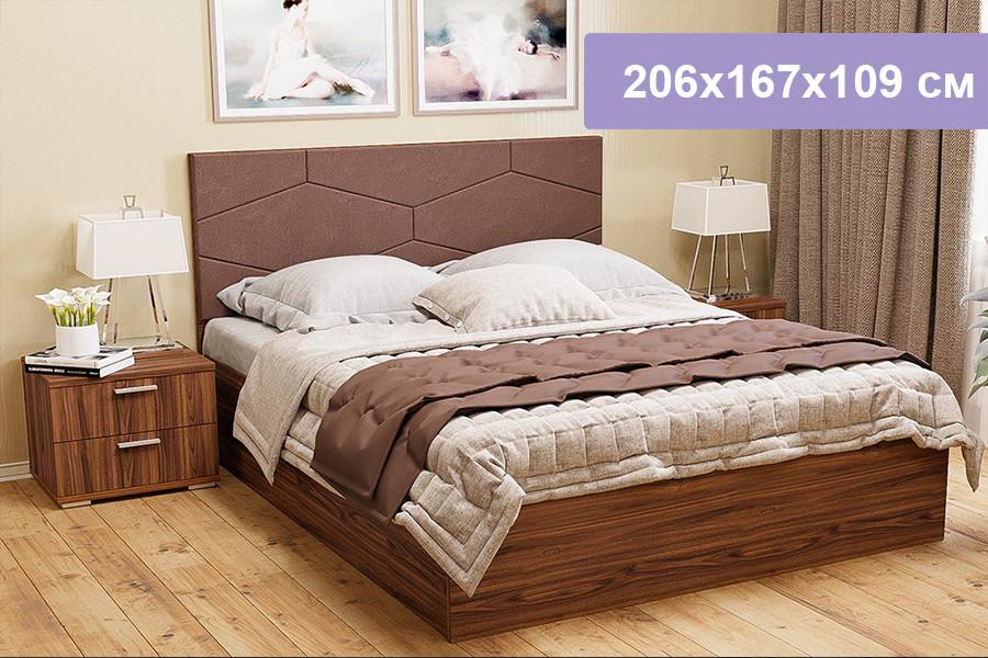 Двуспальная кровать Цвет Диванов Вейла орех каннеро, Domus Taupe 206x167x109 см