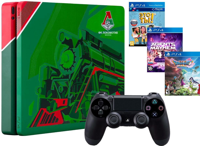 Игровая приставка Sony PlayStation 4 Pro 1Tb Локомотив Чемпионский экспресс + Sony DualShock 4 v2 Black + 3 игры