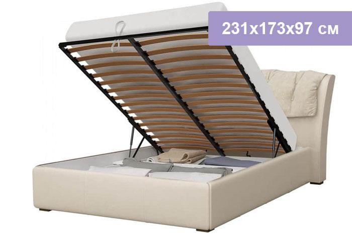 Двуспальная кровать Интердизайн Моника бежевый/бежевый 231x173x97 см (подъемный механизм)