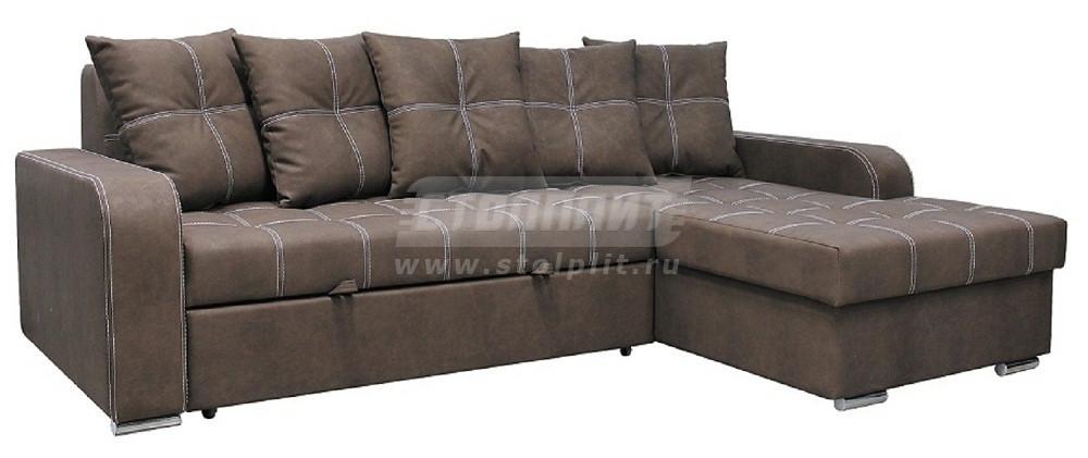 Диван-кровать Столплит Августин угловой шоколадный 250x170x84 см (правый угол, 2 категория)