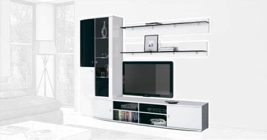 Стенка Интердизайн Монако черный/белый 2020x2534x550 (композиция 1)