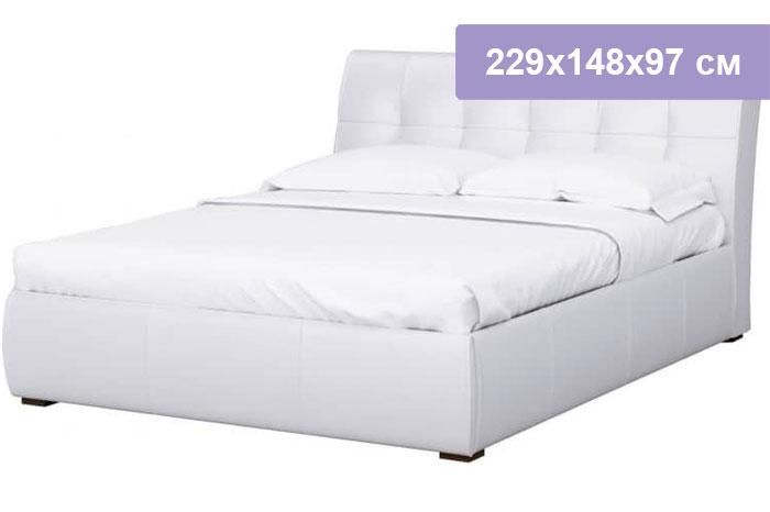 Двуспальная кровать Интердизайн Бьянка белый/белый 229x148x97 см (ортопедическое основание)